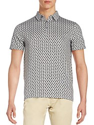 Saks Fifth Avenue Square Print Polo Shirt Light Grey