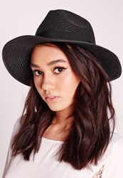 Missguided Classic Straw Fedora Black Black