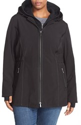 Plus Size Women's Dkny Hooded Soft Shell Jacket With Inset Vest Black