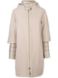Herno Internal Padded Coat Polyamide Polyester Wool Nude Neutrals