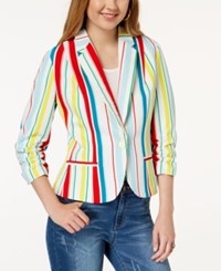 Xoxo Juniors' Ruched Sleeve Blazer Beach Stripe