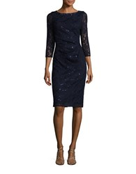 Eliza J Plus Three Quarter Sleeve Sequined Lace Sheath Dress