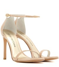 Stuart Weitzman Nudistsong Patent Leather Sandals Beige
