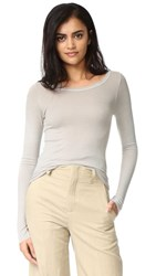 Enza Costa Long Sleeve Rib Crew Neck Tee Quartz