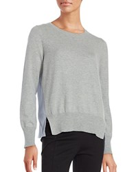 French Connection Capricorn Blouse Back Knit Sweater Grey