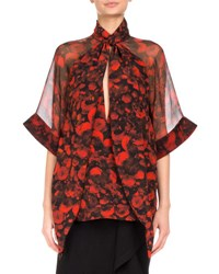Givenchy Floral Print Tie Neck Chiffon Blouse Red