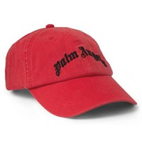Palm Angels Logo Embroidered Cotton Twill Baseball Cap Red