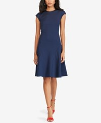 Polo Ralph Lauren Ponte Fit And Flare Dress Cruise Navy