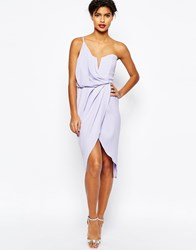 Asos Asymmetric One Shoulder Wrap Front Pencil Dress Lilac Purple