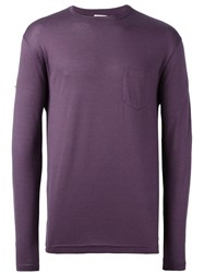 Sunspel Long Sleeve Chest Pocket T Shirt Pink Purple