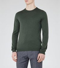Reiss Hart Mens Merino Wool Jumper In Green