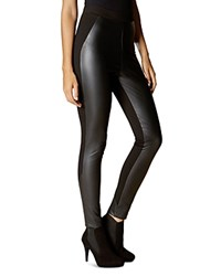 Karen Millen Faux Leather Front Leggings Black