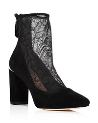 b0ef9c33a66c4 Pour La Victoire Women s Risa Suede And Lace Booties Black