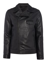 Kenneth Cole Men's Michigan Leather Biker Jacket Black