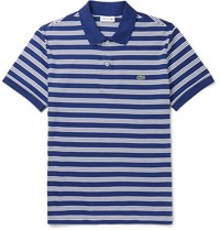Lacoste Striped Cotton Jersey Polo Shirt Blue