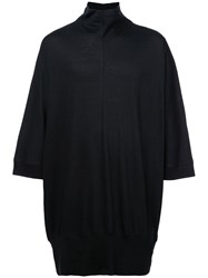 Nude Roll Neck Loose Fit Shirt Black