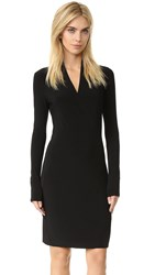 Norma Kamali Long Sleeve Side Draped Dress Black
