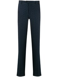 Etro Textured Slim Fit Trousers Blue