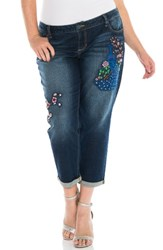 Slink Jeans Plus Size Women's Embroidered Crop Boyfriend