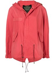 Mr And Mrs Italy Short Hooded Parka Red