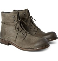 Officine Creative Bubble Burnished Suede Boots Dark Gray