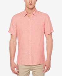 Perry Ellis Men's Chambray Linen Shirt Mineral Red