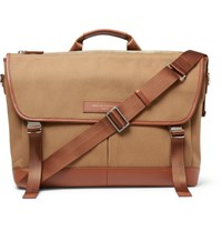 Want Les Essentiels Jackson Leather Trimmed Organic Cotton Canvas Messenger Bag Beige