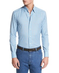 Ermenegildo Zegna Small Plaid Cotton Linen Sport Shirt Bright Blue Br Blu Ck