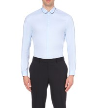 The Kooples Round Collar Cotton Shirt Blue