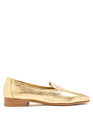 The Row Adam Snakeskin Loafers Gold