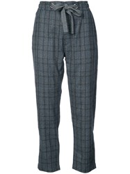 Eleventy Cropped Check Trousers Grey