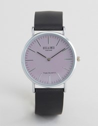 Reclaimed Vintage Black Leather Watch With Pink Dial Black