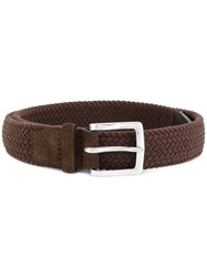 Orciani Woven Belt Men Leather 105 Brown