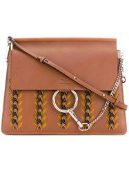 Chloe Faye Embroidered Tote Women Calf Leather Suede One Size Brown