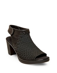Steve Madden Ezzme Woven Elastic And Leather Open Toe Slingbacks Black