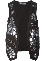 Dondup Mirror And Glass Embellished Waistcoat Brown
