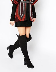 Oasis Over The Knee Heeled Boot Black