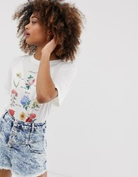 Neon Rose Relaxed T Shirt With Floral Book Print Cream
