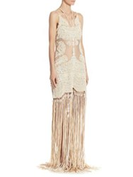 Jonathan Simkhai Collection Beaded Fringe Gown Stone