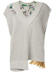 Kolor Knitted Lace Insert Top Grey