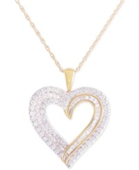 Macy's Diamond Heart Pendant Necklace 1 Ct. T.W. In 10K Gold Yellow Gold