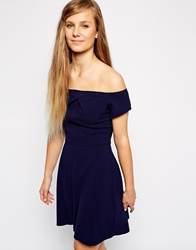 Love Off Shoulder Dress With Pleated Neckline Navy