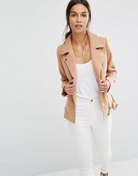 Missguided Short Faux Wool Biker Jacket Caramel Copper