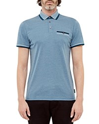 Ted Baker Tipped Regular Fit Polo Shirt Teal Blue