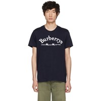 Burberry Navy Embroidered Logo T Shirt
