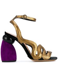 Dries Van Noten Chunky Heel Metallic Sandals