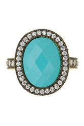 Freida Rothman 14K Gold Plated Sterling Silver Cz And Turquoise Radiance Cocktail Ring Black
