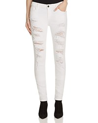 Alice Olivia Jane Distressed Skinny Jeans In Washed White Distressed Washed White