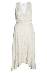 Charles Henry Sleeveless Gingham Wrap Dress Tan Gingham