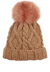 Barneys New York Women's Cable Knit Pom Pom Embellished Hat Tan